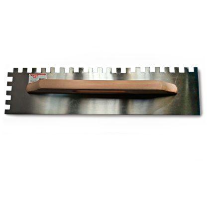 Llana de acero 48cm. Dentado 12x12, mango madera.